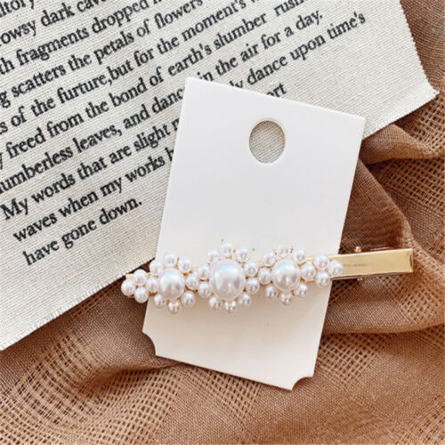 Women Fashion Pearl Flower Hair Clip Snap Barrette Stick Word Folder Accessories