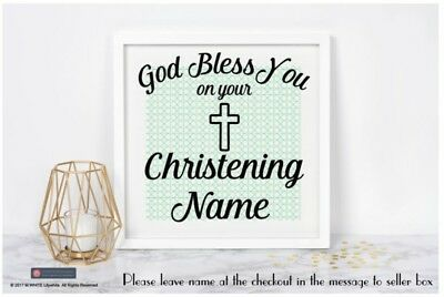 GOD BLESS YOU on your Christening, Baptism, First Holy Communion, Vinyl Sticker