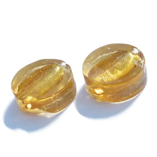 12 perles de verre Disc 13 mm vieux blanc avec Argent Film Perles Nenad-Design an161
