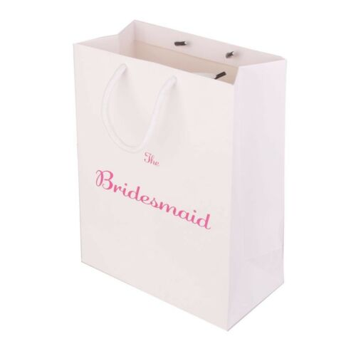 6pcs The Bridesmaid Wedding Party Paper Gift Favour Bag with Handle White