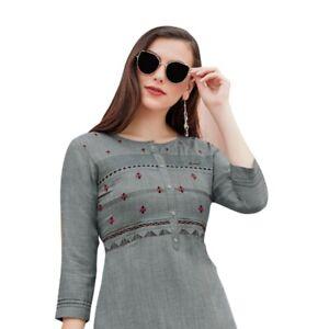 Women-Fashion-Short-Embroidery-Rayon-Kurti-Tunic-Kurta-Top-Shirt-Tunic-Dress