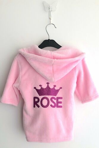 GIRLS PERSONALISED Crown PINK Hooded DRESSING GOWN Robe Baby SLEEPWEAR Cute GIFT