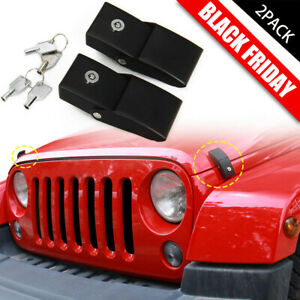 A Pair Sporthfish Silver Stainless Steel Locking Hood Catch Kit Hood Latch Replacement Compatible for 2007-2017 Jeep Wrangler JK JKU