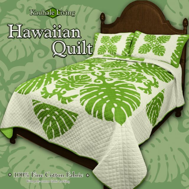 Queen Hawaiian monstera Quilt comforter Bedspread 2 sham sage green  100% cotton