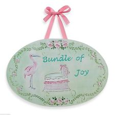 NEW WALL PLAQUE Kids Room BUNDLE OF JOY Stork Bassinet Jane Farrimond STUPELL