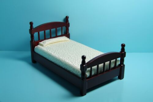 Dollhouse Miniature Twin Bed with Cream Fabric Bedding in Mahogany ~ T3330