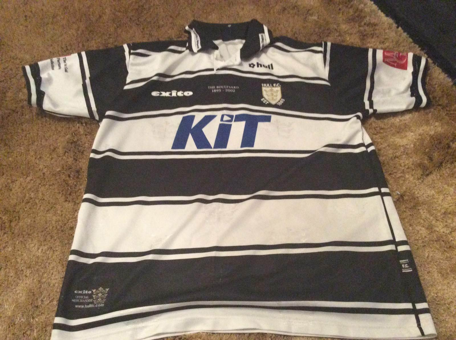 Mens HULL FC Rugby League Shirt Size Xl The Boulevard 1895 2002 Kit Three Crowns