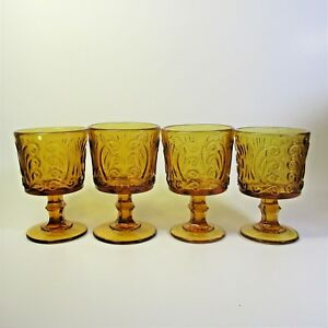 Imperial-Glass-AMBER-SCROLL-Wine-Glasses-Set-of-4-Atterbury-Scroll-Glass