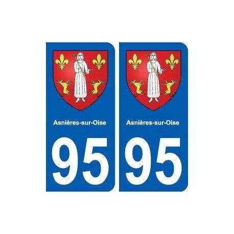 95 Asnières-sur-Oise blason autocollant plaque stickers ville arrondis