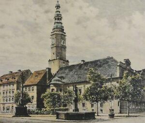 Albrecht-Bruck-1874-1964-antik-Farb-Radierung-SCHWEIDNITZ-MARKT-Schlesien