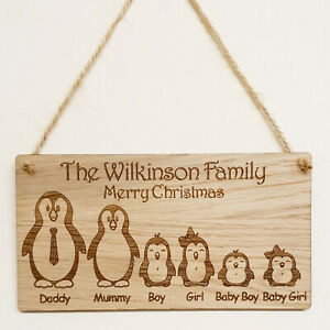 PERSONALISED-CHRISTMAS-FAMILY-PORTRAIT-PENGUIN-NAME-PLAQUE-SIGN-WOODEN-XMAS-GIFT