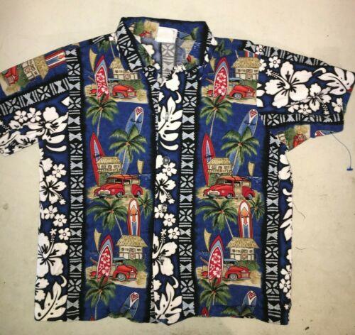 VINTAGE 1970's NUI NALU Blue Hawaiian Shirt KIDS