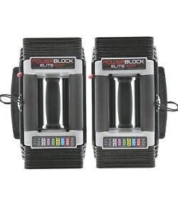 POWERBLOCK Elite EXP Adjustable Dumbbell PAIR 2020 Model Black 503-00096-01 Set