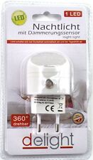LED Nachtlicht mit Dämmerungssensor 1 LED 4,5x2,5 cm für Steckdose 360° drehbar