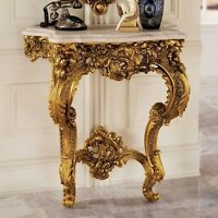 Elegant Rose Sculpted 17th Century Antique Replica Wall Console Table