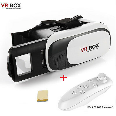 Google Cardboard VR BOX 2.0 Virtual Reality 3D Glasses with Bluetooth Control US