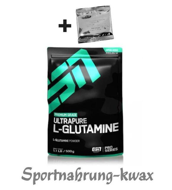 (37,80€/Kg) ESN Ultrapure L-Glutamin Powder 500g Glutamin Pulver + Probe