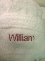 100% Cotton Towelling Robe Embroidered / Personalised with a NAME of your choice