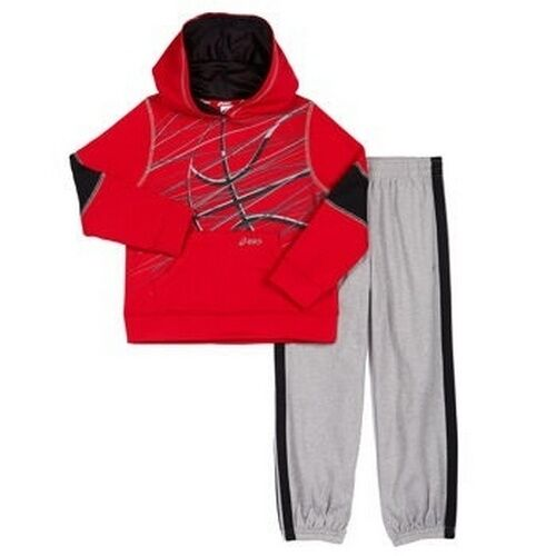 NEW ASICS Boy/'s Hooded Jacket Sweat Pants 2 Piece Set Red//Grey 3T