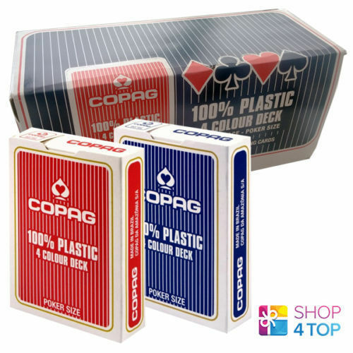 12 ponts of Copag 4 Colour 100% plastique Jumbo Poker 6 Rouge 6 bleu cartes NEUF