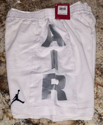 NIKE AIR JORDAN Jumpman Baller Mesh White Silver Basketball Shorts NEW Boys M L