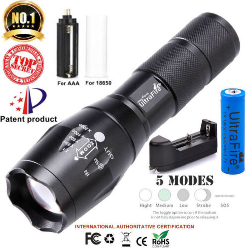 High 18650 Battery Box . Camping Tactical G700 Flashlight T6 5Modes Zoom Torch