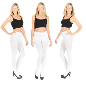 3567bea086db0 Opaque WHITE Tights, Extra Thick 40, 60, 100 Denier, Womens Ladies ...