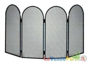 Parascintille camino caminetto in ferro battuto 4 pezzi a libro ripiegabile