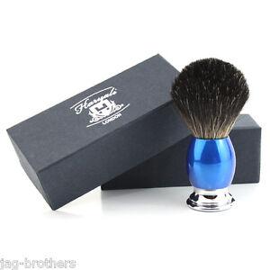 Men-039-s-100-BLACK-Badger-Hair-Shaving-Brush-in-RED-amp-CHROME-Handle-Made-in-UK