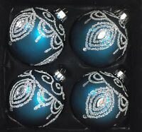 Teal Blue Glittery Silver Peacock Feather Glass Christmas Ornaments Set 4
