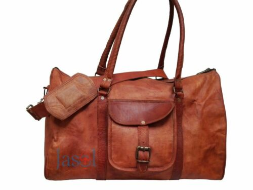 women/'s Vintage Brown Genuine Leather Luggage Duffle Gym Overnight Weekend Bag