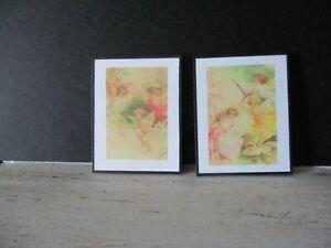 2 Maison De Poupées Miniature Imprime Nz17 Vintage Fées-afficher Le Titre D'origine
