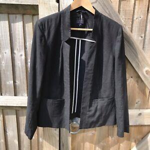 M-amp-S-Collection-Black-Linen-Blend-Open-Front-Blazer-Jacket-16-VGC-Smart-Wedding