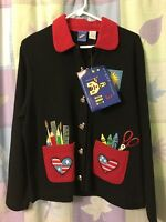 Onque Casuals Teacher Cardigan Sweater Black Red Women's L Large