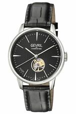 Gevril Men's 9600 Mulberry Automatic Black Dial Black Leather Wristwatch