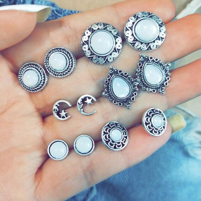 6Pairs/Set Opal Crystal Moon Earrings Women Ear Stud Jewelry Wedding Party B ^r