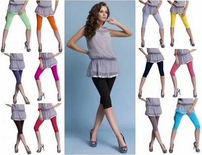 d277831e2e423f DeDavide Capi 3/4 Leggings mit Spitze Baumwolle hoher Bund viele Farben  S-XXXL | eBay