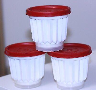 set three-9 Pc Tupperware Jello JEL-ETTE Flan Jel Molds Cups #297 Red White