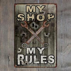 Metal-Tin-Sign-Warning-My-Tool-My-Rule-Garage-Post-Home-Art-Wall-Cave-Store-Shop