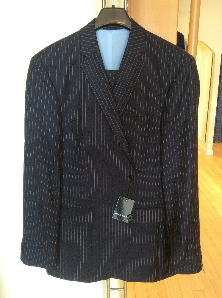Roy Robson Men's Suit Size 44R Navy Pinstripe RRP  Now