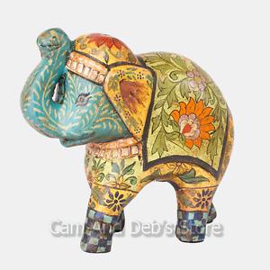 Hand Painted Terracotta Elephant Ornament Animal Figurine 22 cm