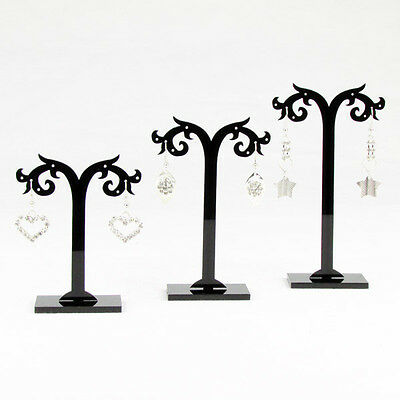 1 Set (3pcs) Black Acrylic Earring Jewelry Tree Shaped Display Stand Holder Rack