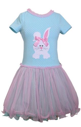 Bonnie Jean Easter Bunny Holiday Multi Polka Tutu Pink Dress Big Girls 7 8 10 12