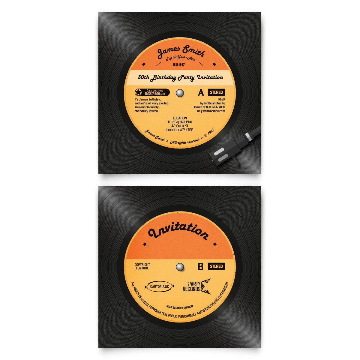 Invitation Cards Invite Birthday Party - Retro Vinyl Record Disk