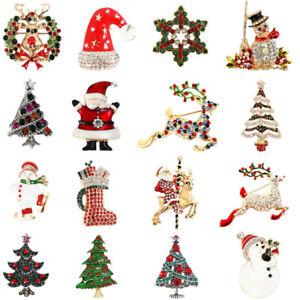Insignia-de-Navidad-Rhinestone-Arbol-Reno-Santa-Claus-Broche-Pins-Fiesta-Regalo