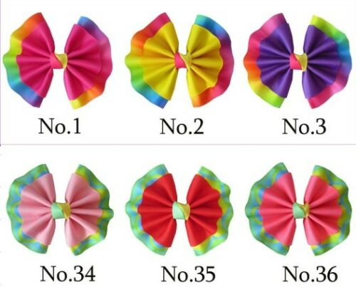 """50 BLESSING Girl 4/"""" Fan Hair Bow Clip Colorful Leopard Accessories Wholesale"""