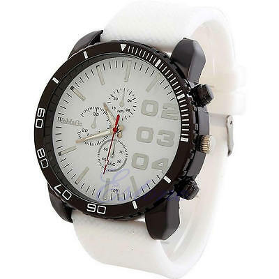 Men's Sport Watch Big Dial Analog Silicone Band Quartz Wristwatch