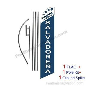 Comida Salvadorena 15ft Feather Banner Swooper Flag Kit with pole+spike