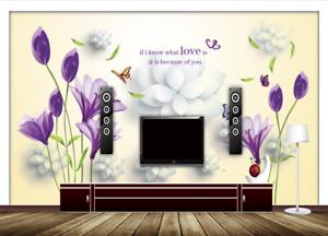 3D bluemen purple Liebe 82 Tapete Wandgemälde Tapete Tapeten Bild Familie DE Summer