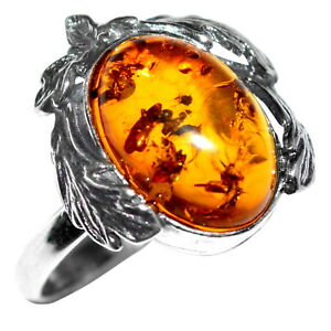 4-02g-Authentic-Baltic-Amber-925-Sterling-Silver-Ring-Jewelry-N-A7088A